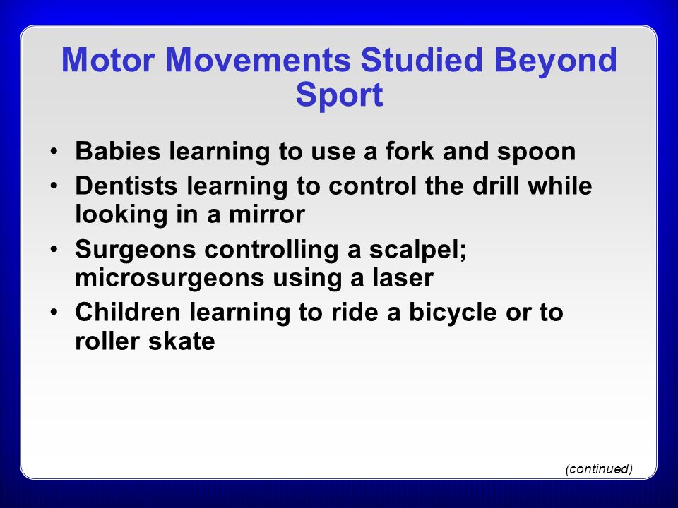 Motor Movements Studied Beyond Sport