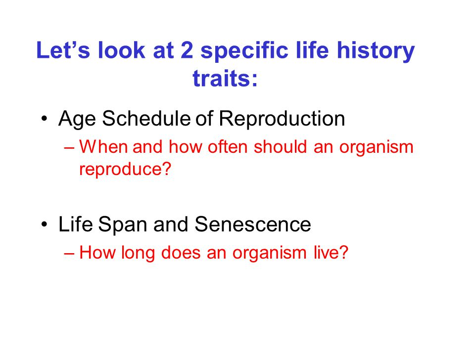 Let's look at 2 specific life history traits: