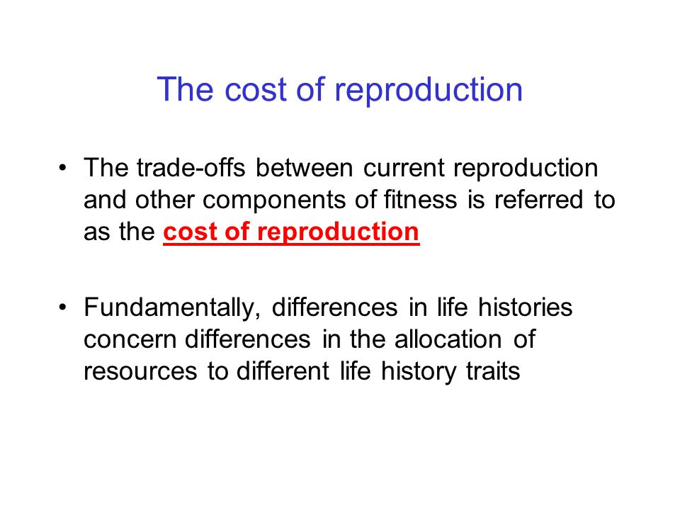 The cost of reproduction