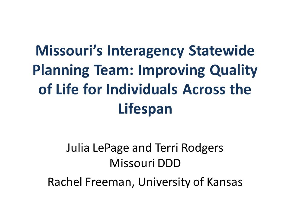 Missouri's Interagency Statewide Planning Team: Improving Quality of Life for Individuals Across the Lifespan