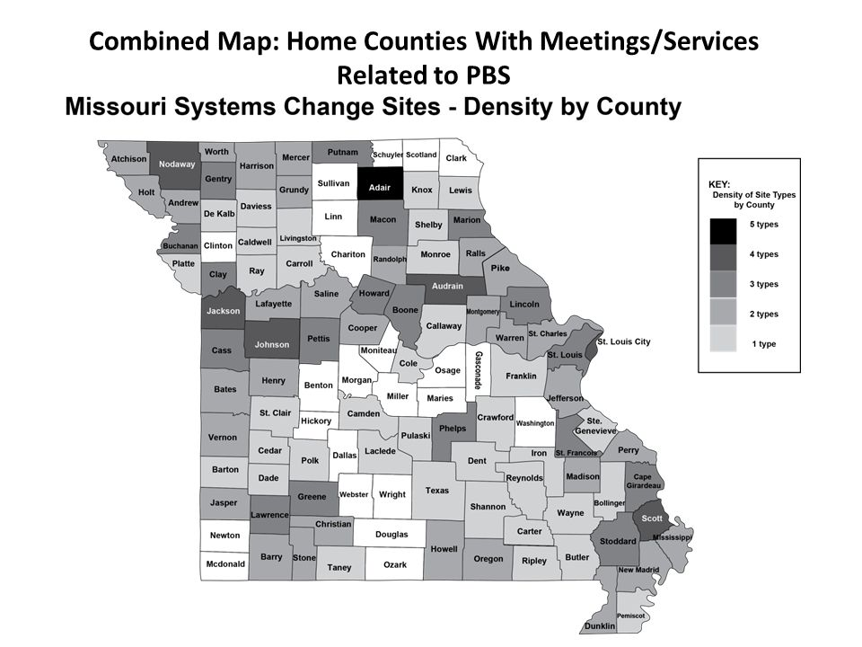 Combined Map: Home Counties With Meetings/Services Related to PBS