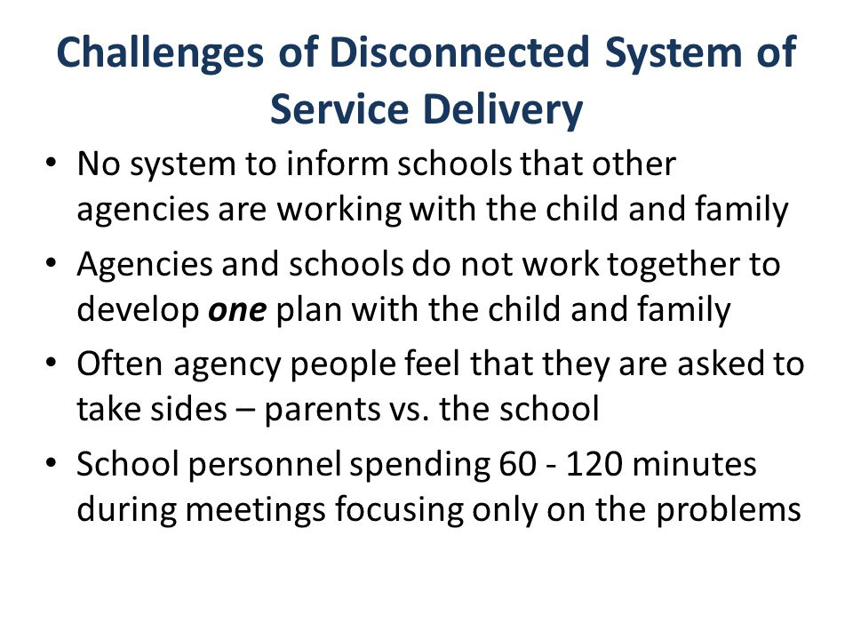 Challenges of Disconnected System of Service Delivery