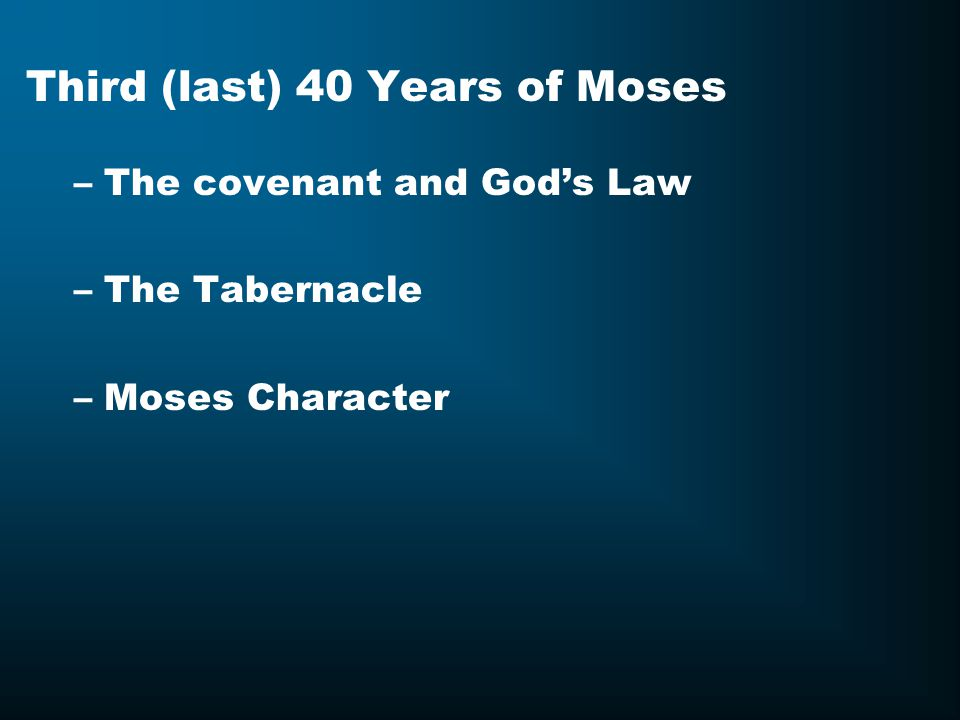 Third (last) 40 Years of Moses