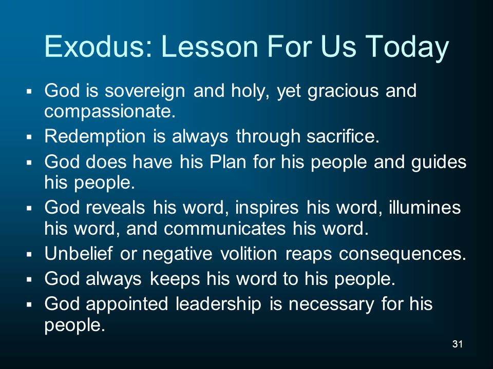 Exodus: Lesson For Us Today