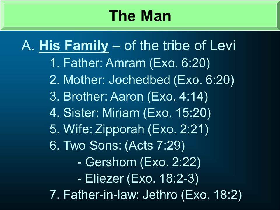 The Man A. His Family – of the tribe of Levi
