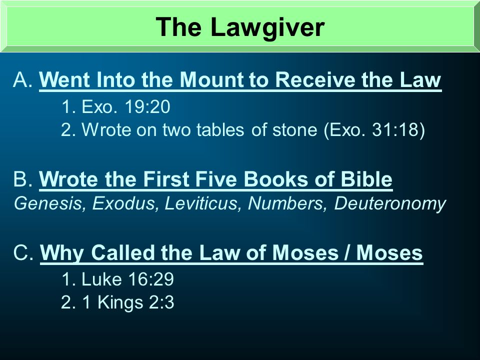 The Lawgiver A. Went Into the Mount to Receive the Law 1. Exo. 19:20
