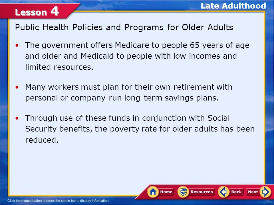 Public Health Policies and Programs for Older Adults