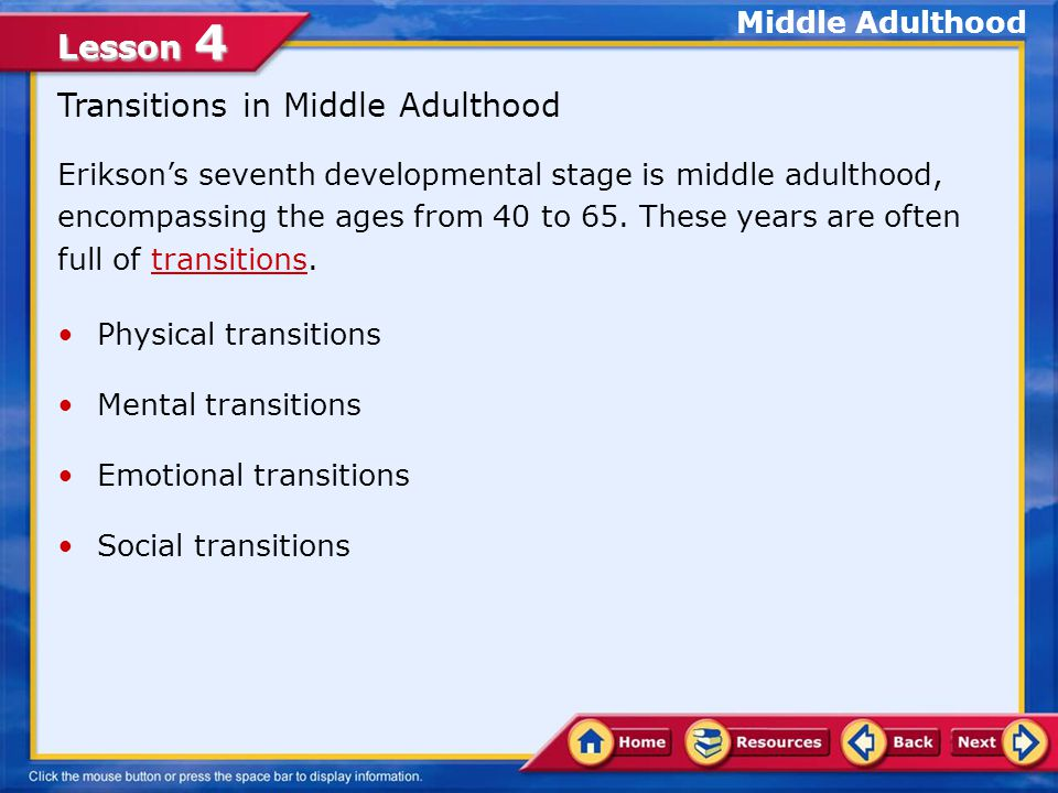 Transitions in Middle Adulthood