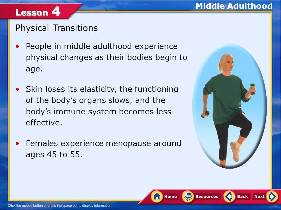 Physical Transitions Middle Adulthood