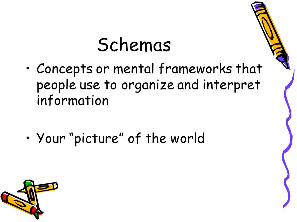 Schemas Concepts or mental frameworks that people use to organize and interpret information.