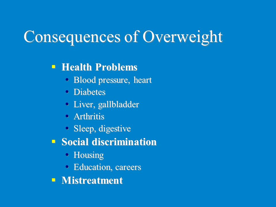 Consequences of Overweight