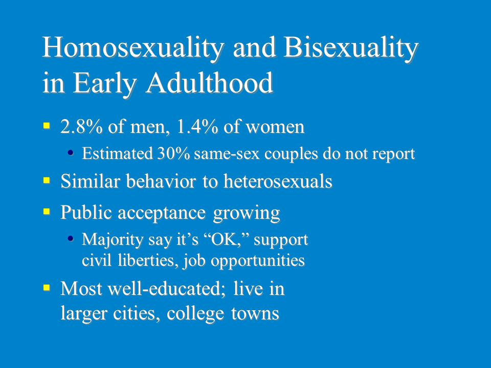 Homosexuality and Bisexuality in Early Adulthood