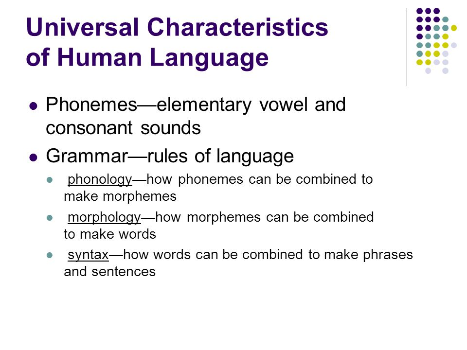 Universal Characteristics of Human Language
