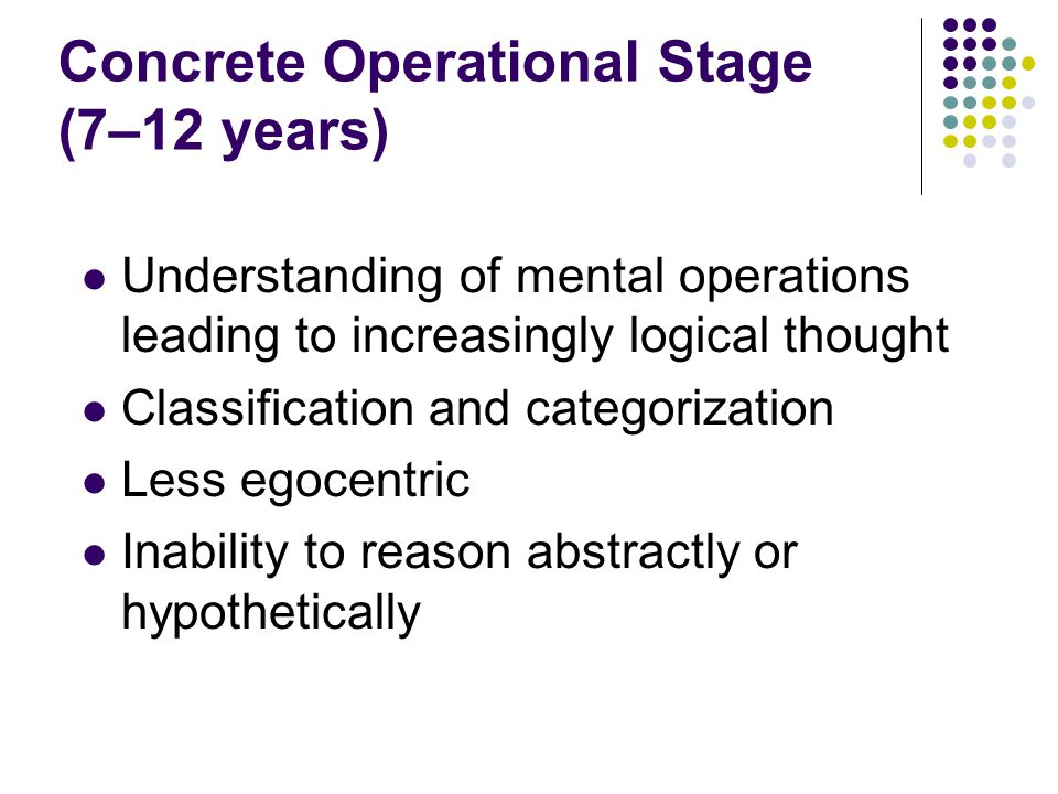 Concrete Operational Stage (7–12 years)