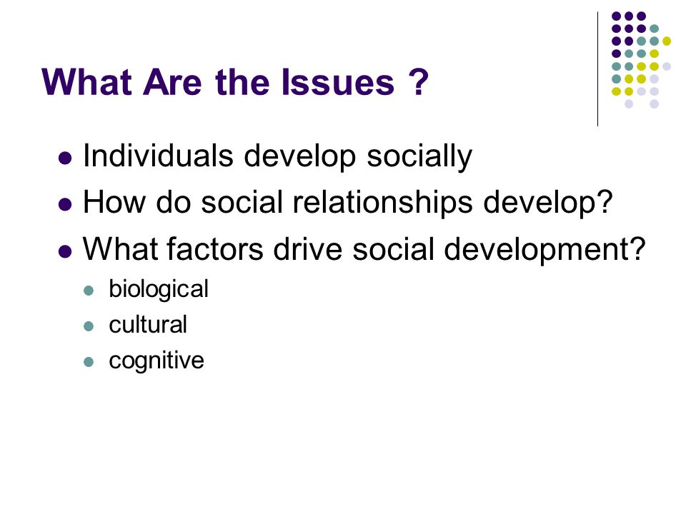 What Are the Issues Individuals develop socially