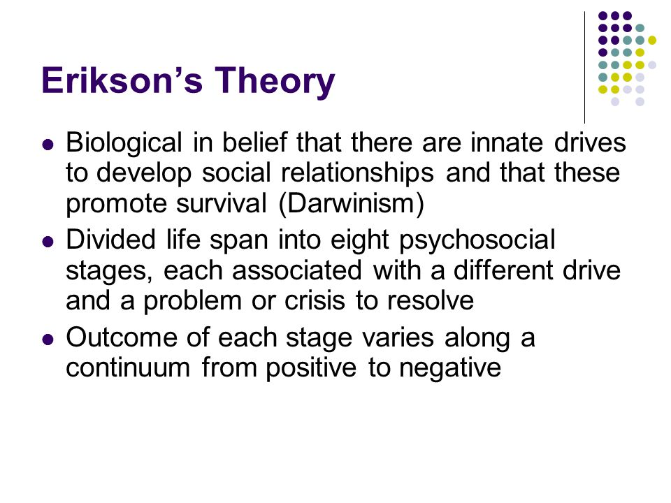 Erikson's Theory Biological in belief that there are innate drives to develop social relationships and that these promote survival (Darwinism)