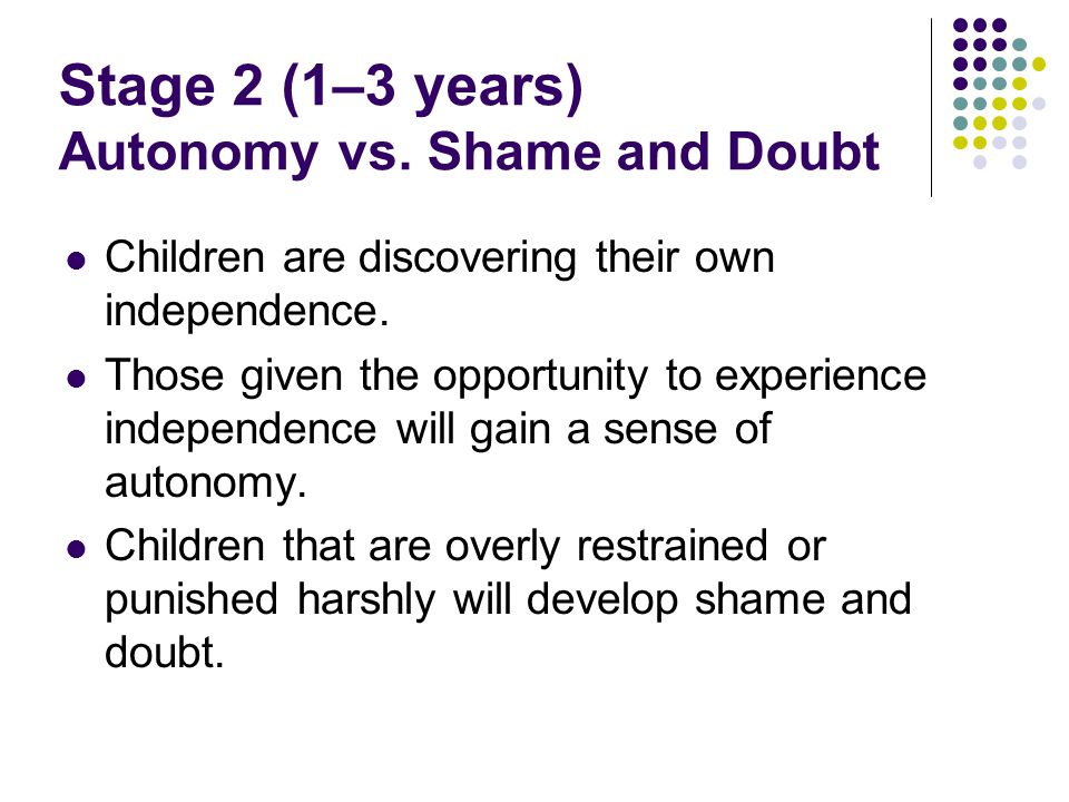 Stage 2 (1–3 years) Autonomy vs. Shame and Doubt
