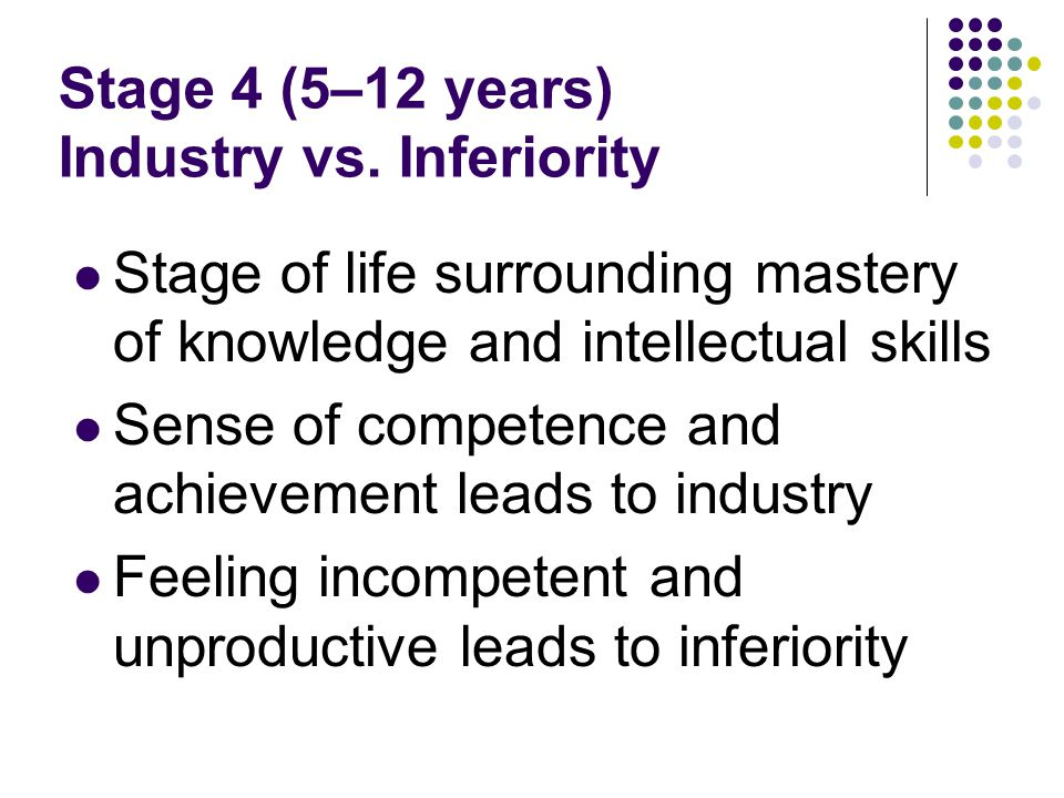 Stage 4 (5–12 years) Industry vs. Inferiority