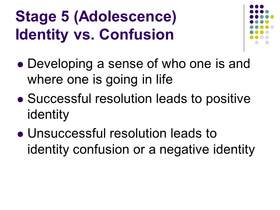 Stage 5 (Adolescence) Identity vs. Confusion
