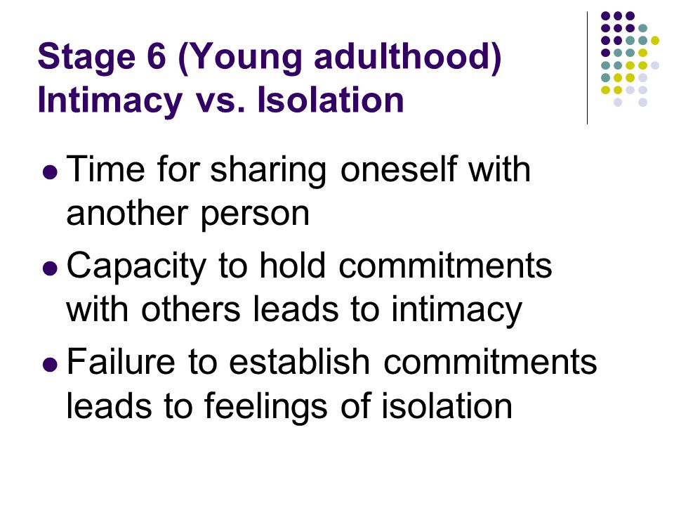 Stage 6 (Young adulthood) Intimacy vs. Isolation