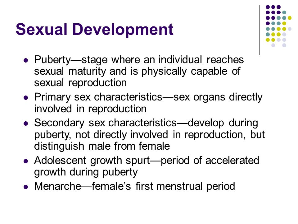 Sexual Development Puberty—stage where an individual reaches sexual maturity and is physically capable of sexual reproduction.