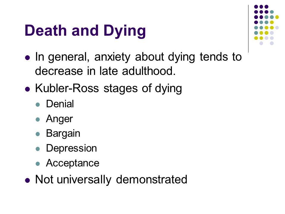 Death and Dying In general, anxiety about dying tends to decrease in late adulthood. Kubler-Ross stages of dying.