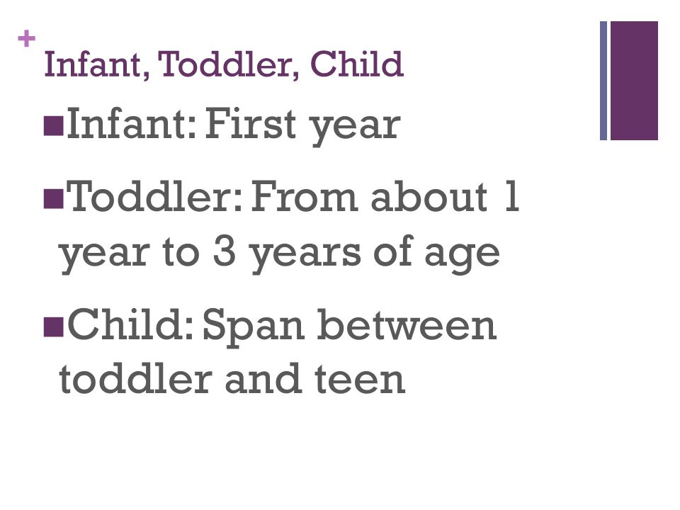 Toddler: From about 1 year to 3 years of age