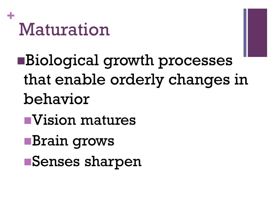 Maturation Biological growth processes that enable orderly changes in behavior. Vision matures. Brain grows.