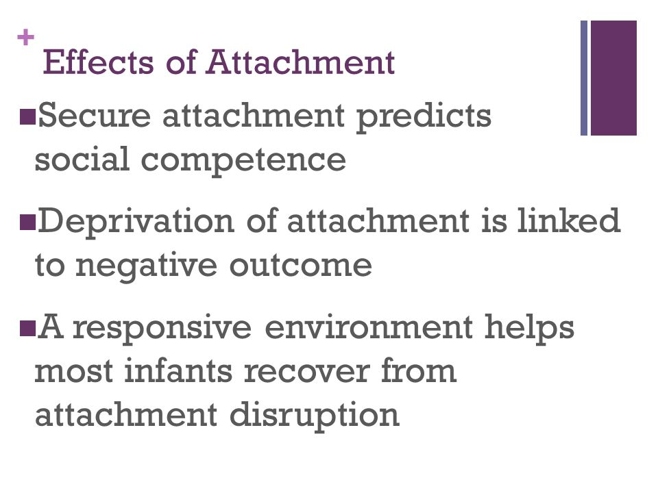 Effects of Attachment Secure attachment predicts social competence. Deprivation of attachment is linked to negative outcome.