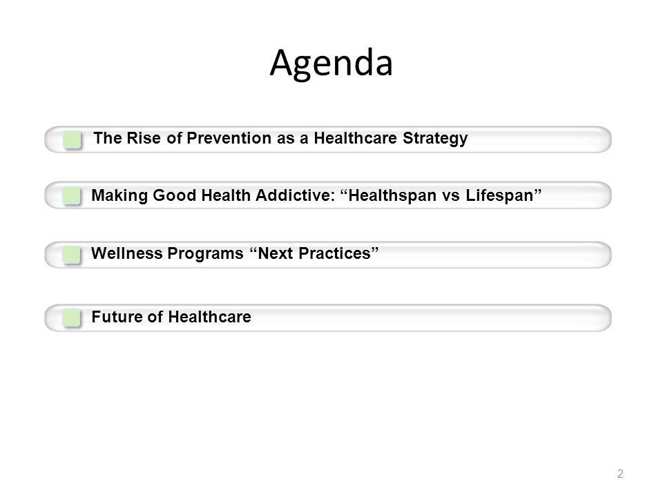 Agenda The Rise of Prevention as a Healthcare Strategy