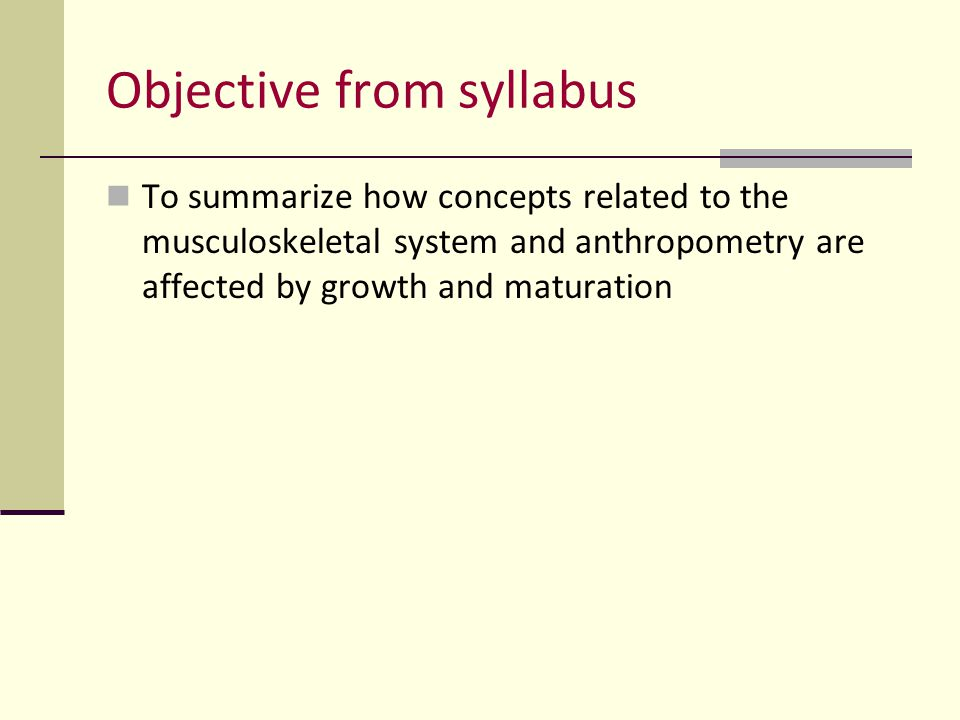 Objective from syllabus