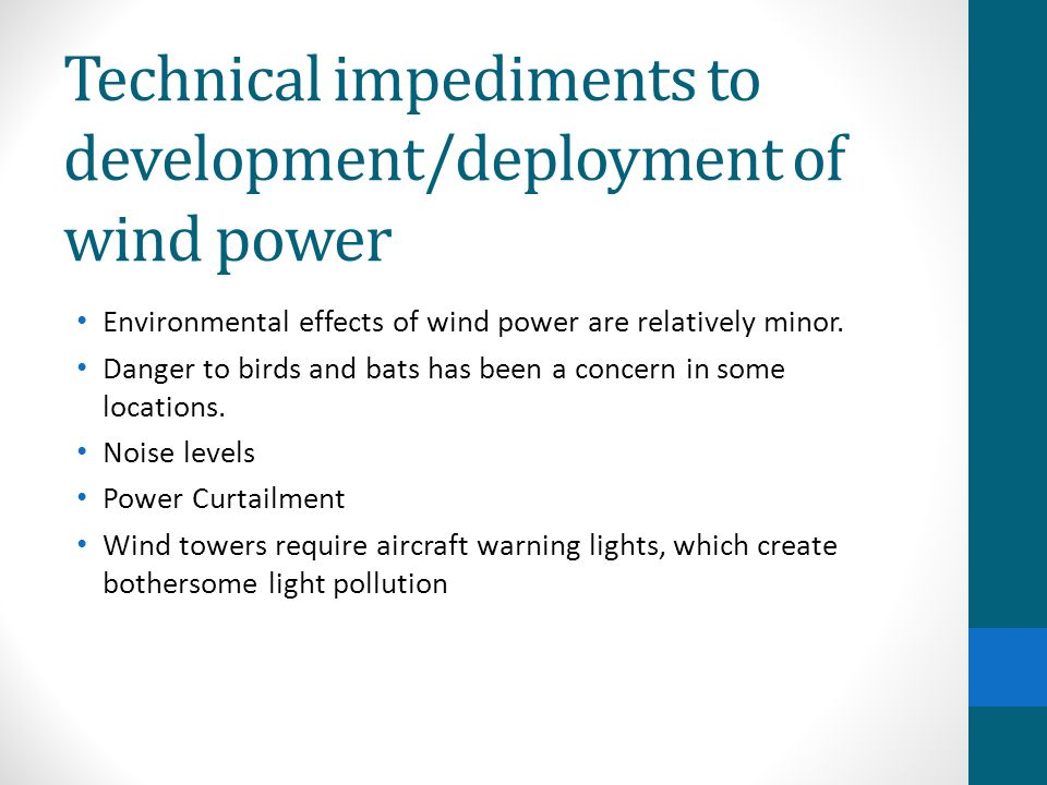 Technical impediments to development/deployment of wind power