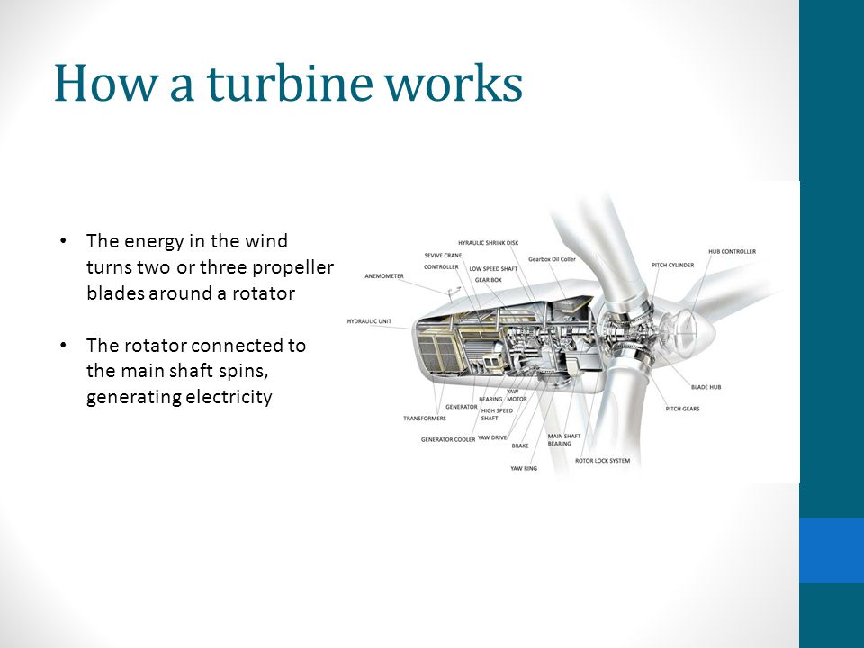 How a turbine works The energy in the wind turns two or three propeller blades around a rotator.