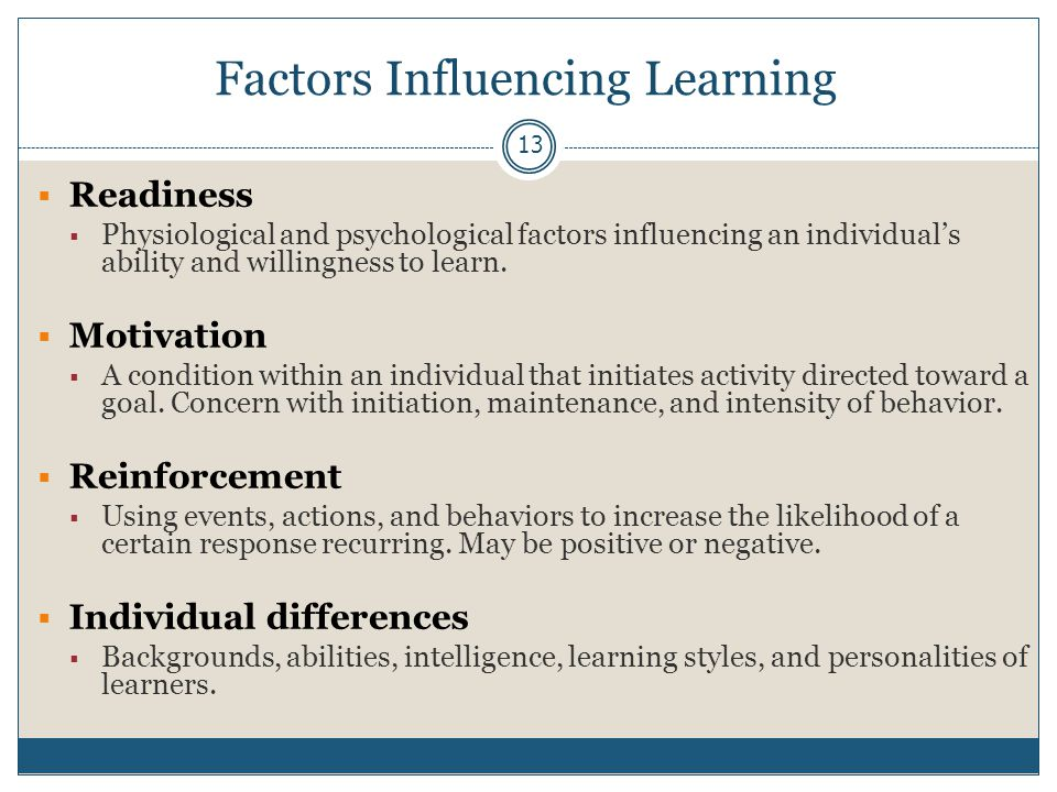Factors Influencing Learning