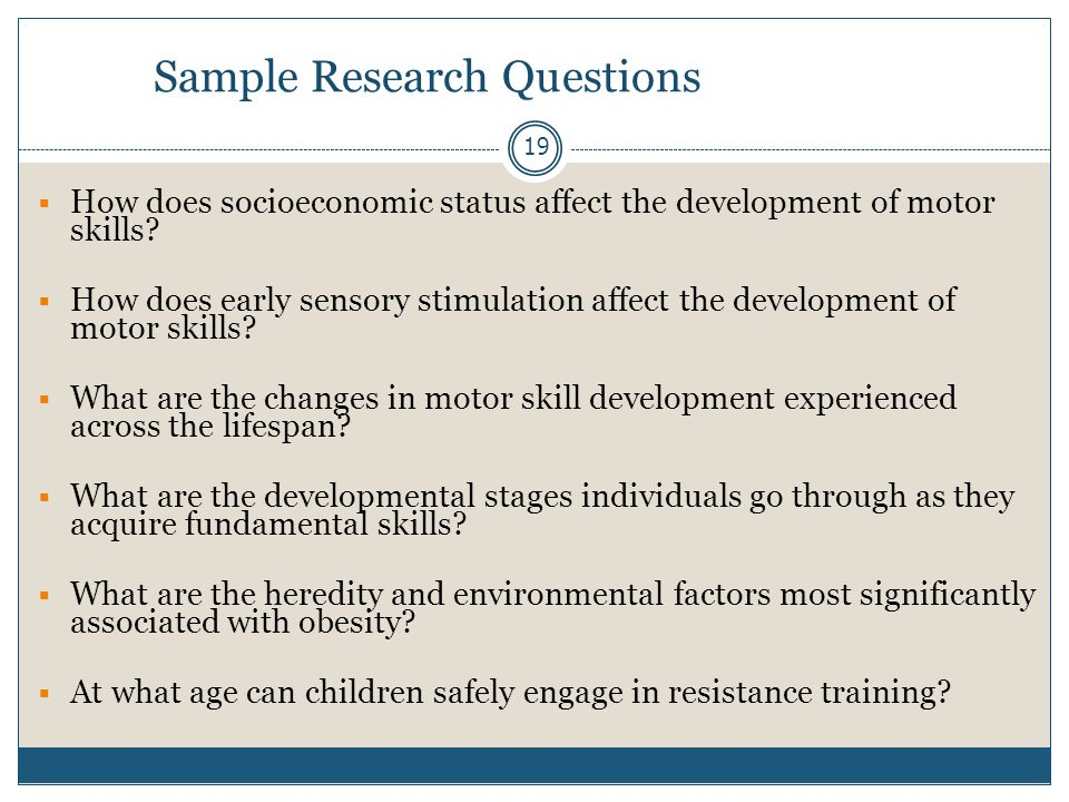 Sample Research Questions