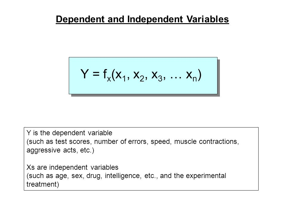 Y = fx(x1, x2, x3, … xn) Dependent and Independent Variables