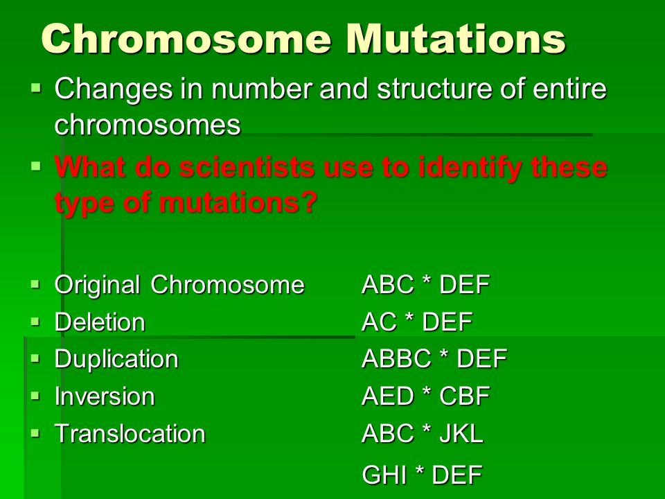 Chromosome Mutations Changes in number and structure of entire chromosomes. What do scientists use to identify these type of mutations