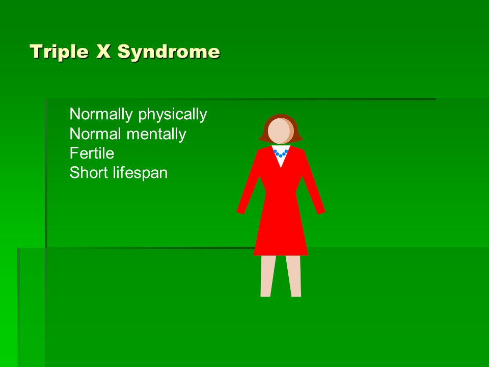 Triple X Syndrome Normally physically Normal mentally Fertile
