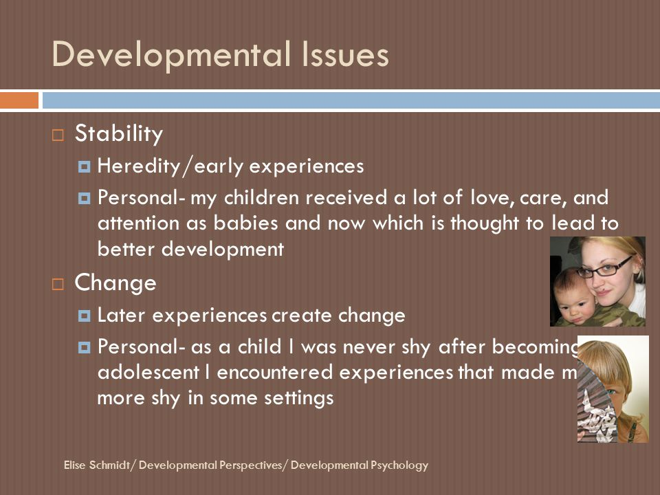 Developmental Issues Stability Change Heredity/early experiences