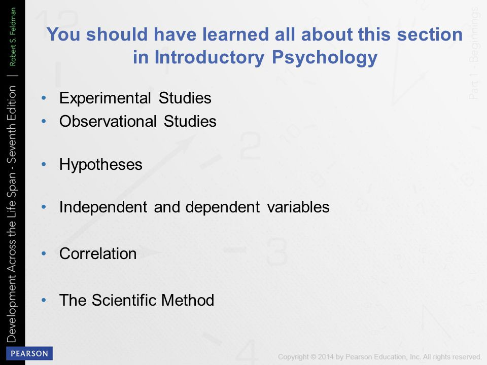 You should have learned all about this section in Introductory Psychology