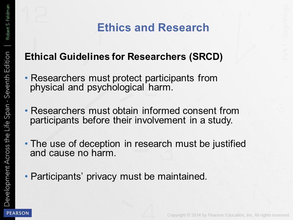 Ethics and Research Ethical Guidelines for Researchers (SRCD)