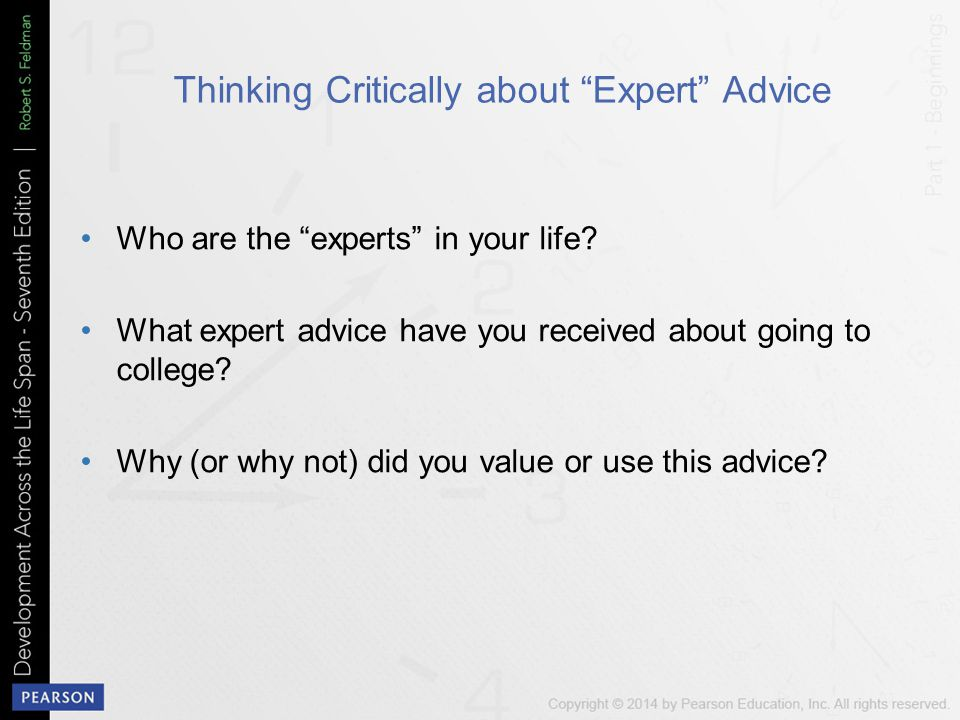 Thinking Critically about Expert Advice