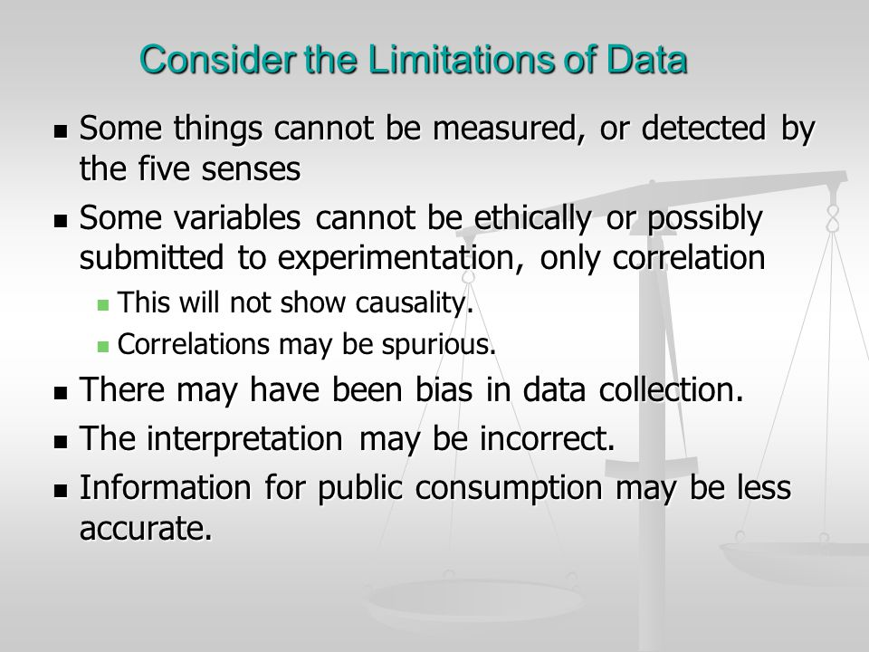 Consider the Limitations of Data