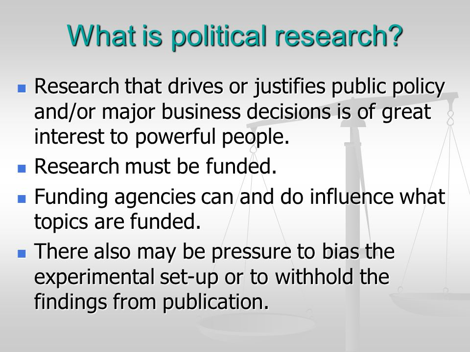 What is political research