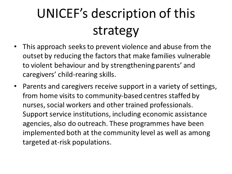 UNICEF's description of this strategy