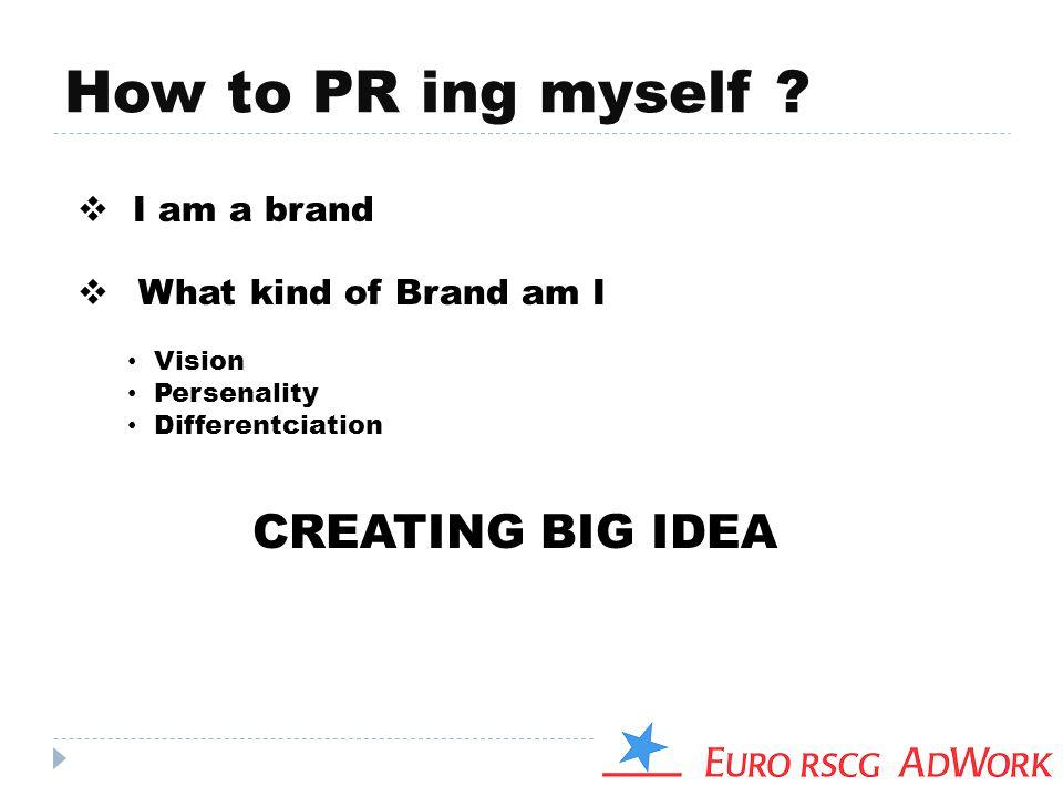 How to PR ing myself CREATING BIG IDEA I am a brand