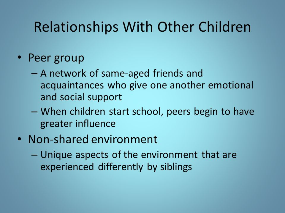 Relationships With Other Children