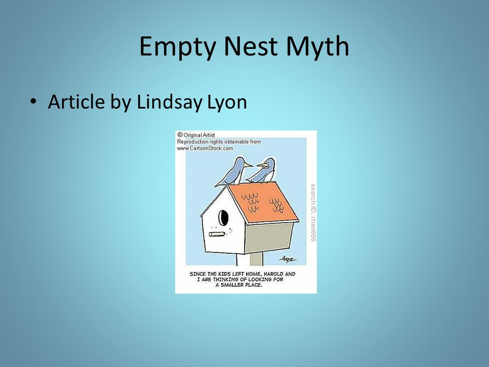 Empty Nest Myth Article by Lindsay Lyon