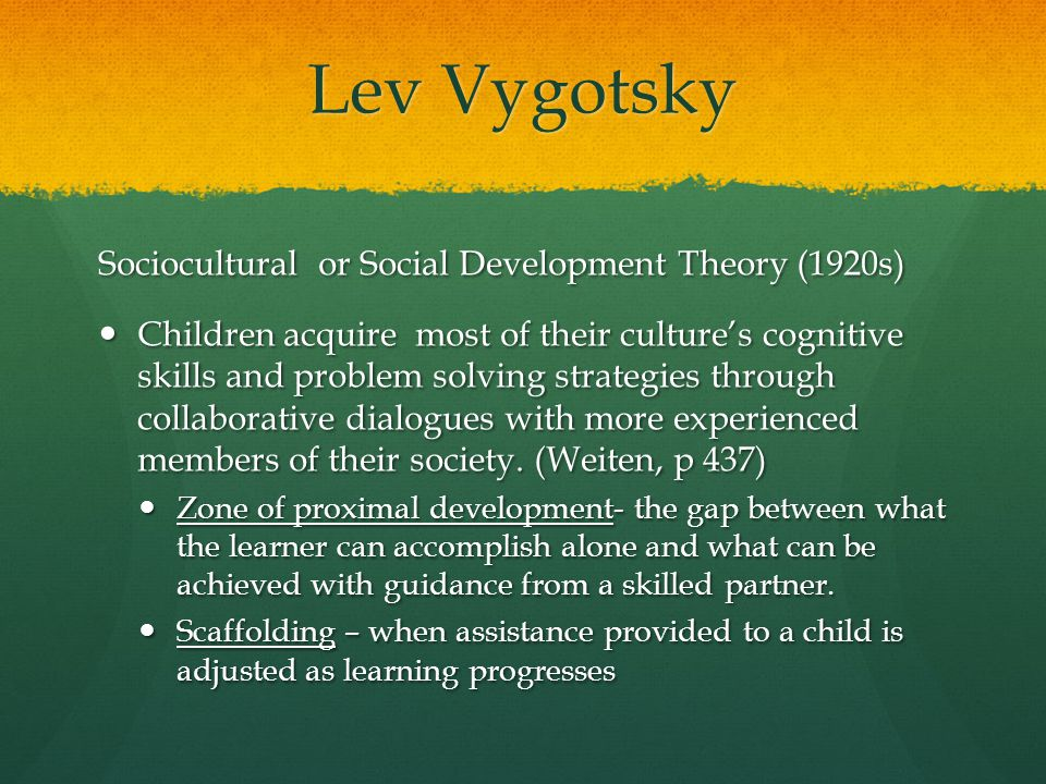 Lev Vygotsky Sociocultural or Social Development Theory (1920s)