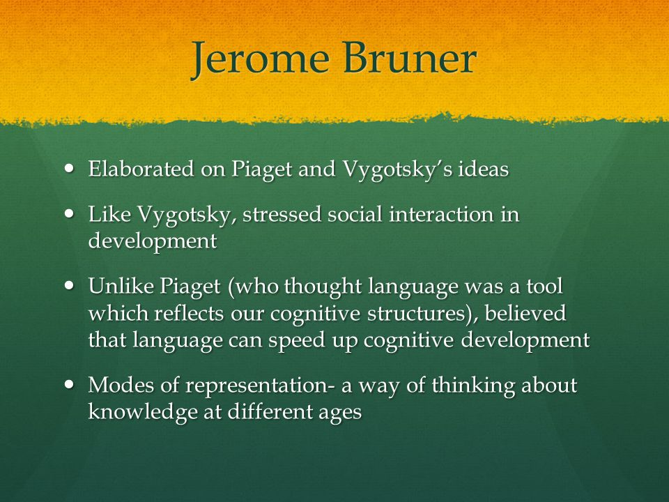 Jerome Bruner Elaborated on Piaget and Vygotsky's ideas